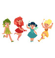 fairy girls in dresses with wings and wands vector image vector image