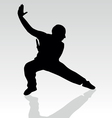 fighter pose two silhouette vector image