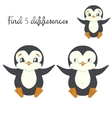 Find differences kids layout for game penguin vector image vector image