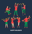 flat infographics of people decorating by fairy vector image vector image