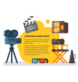 flat style set of old cinema icon for online vector image vector image