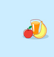 glass orange juice with apple and banana fresh vector image