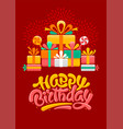 happy birthday greeting card template with brush vector image