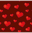 heart seamless pattern on red background vector image