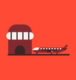 icon in flat design plane at airport vector image