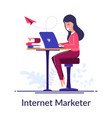 internet marketer concept work via internet vector image vector image