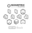 Isometric outline icons set 44 vector image