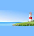 lighthouse on a green hill above the sea vector image