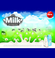 milk ads cows on green field farm background vector image vector image