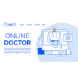 online medic consultation assistance landing page vector image vector image
