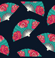 oriental fan decorated with roses flowers vector image vector image