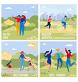 outdoor activities and recreations banners set vector image vector image