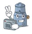 photographer milk can mascot cartoon vector image vector image