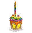 rainbow cupcake with candle vector image vector image