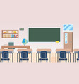school classroom with furniture board desk empty vector image