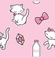 seamless pattern with cute kitty stickers isolated vector image vector image