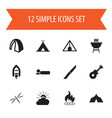 set of 12 editable camping icons includes symbols vector image vector image