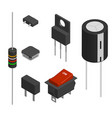 set of different electronic components in 3d vector image