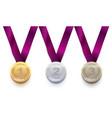 set sport medal 1 gold 2 silver 3 bronze vector image vector image