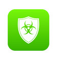 shield with a biohazard sign icon digital green vector image