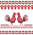 slavic ornate with two red cocks vector image
