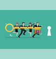 team business people holding knowledge key vector image vector image