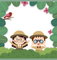 template with girl and boy holding binoculars vector image