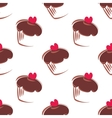 Tile pattern with cupcakes on white background vector image vector image