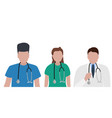 young male and female doctors with stethoscope in vector image