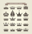 heraldic symbols - royal crowns icon set vector image