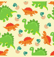 cartoon baby dinosaur seamless pattern for vector image