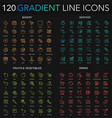 120 trendy gradient style thin line icons set of vector image