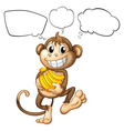 A monkey with bananas vector image vector image