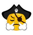 angry pirate emoji blowing wind from its nose vector image