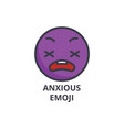 anxious emoji line icon sign vector image