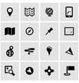 Black map icon set