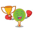 boxing winner ping pong racket mascot cartoon vector image vector image