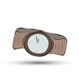 brown clock watch with brown leather strap - five vector image vector image
