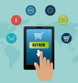 buy on line with smartphone vector image vector image