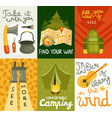 camping equipment cards vector image vector image