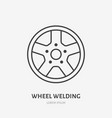 car wheels flat line icon disks welding sign vector image vector image