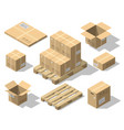 cardboard boxes and wood pallet isometric set vector image