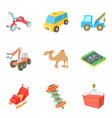 carriage icons set cartoon style vector image vector image