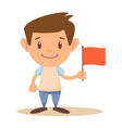 child holding flag vector image vector image