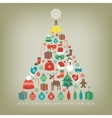Christmas tree with decoration elements Chrismas vector image