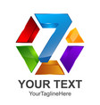 colorful rainbow glossy letter z logo 3d render vector image