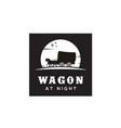 cowboy cart covered wagon western at night logo vector image