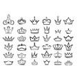 crown doodles imperial king diadem regal symbols vector image