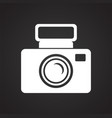 digital camera icon on black background for vector image