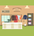 dry cleaning and ironing shop interior view vector image